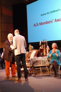Bernard Cribbins presents Lindsay Baker with ACA Award -- Photo credit Kate Withstandley ACA
