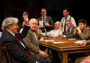 Twelve Angry Men - Tom Conti (as Juror 8) and the cast of Twelve Angry Men - Photo credit Anton Belmonte Photography- Theatre Royal Bath- Theatre Bath
