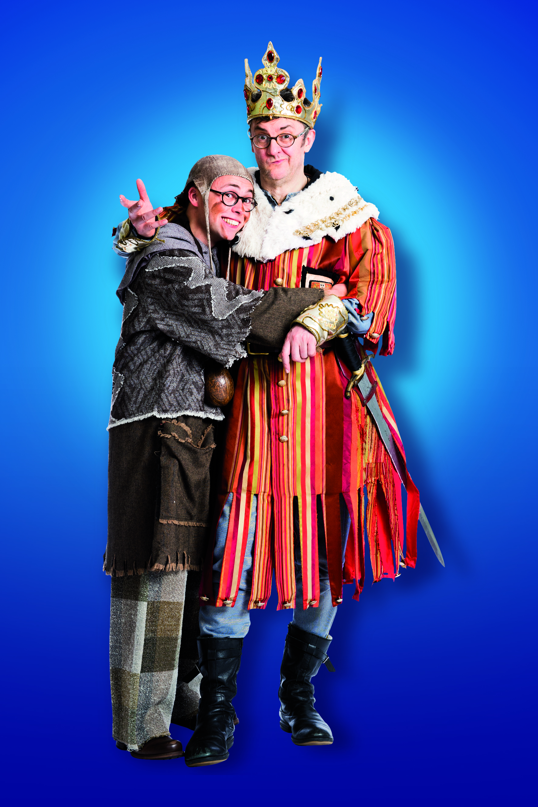 Monty Python's Spamalot - Joe Pasquale as King Arthur and Joe Tracini as Patsy- Theatre Royal Bath- Theatre Bath