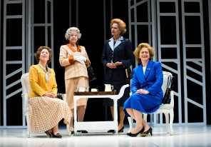 Handbagged - Emma Handy as 'Liz', Susie Blake as 'The Queen', Kate Fahy as 'Mrs Thatcher', Sanchia McCormack as 'Mags' - Theatre Royal Bath- Theatre Bath
