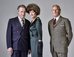 Nicholas Farrell, Belinda Lang and David Robb in Single Spies - Theatre Royal Bath - Theatre Bath